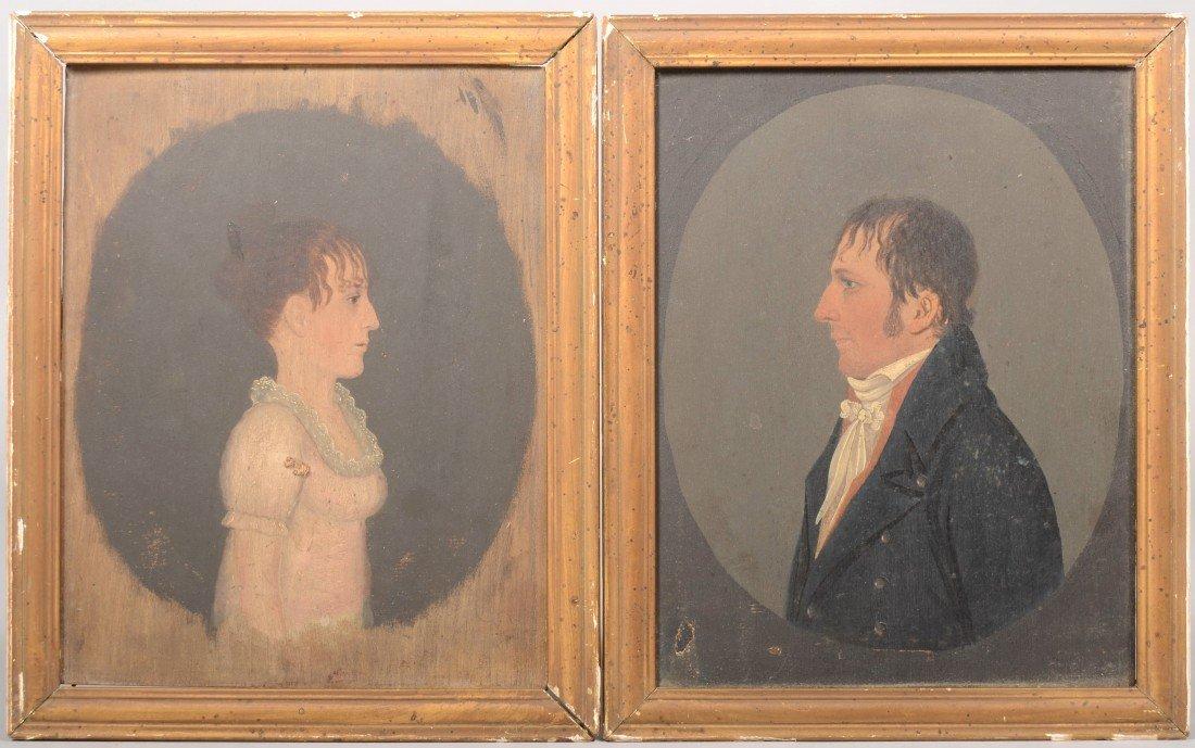 330: Pair of Profile Portraits by Jacob Eichholtz, Amer