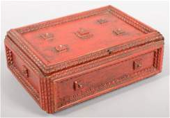 738 Red Painted Tramp Art Sewing Box Layered chip car