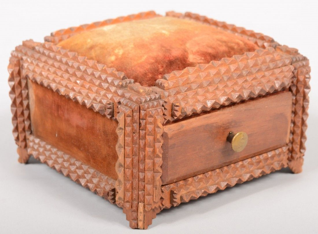 773: Tramp Art Style Sewing Box with Drawer. Layered ch