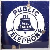820: Blue and White Enameled PUBLIC TELEPHONE Sheet Iro