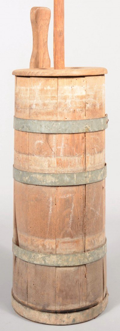 1: Staved and Banded Upright Butter Churn. Four metal b