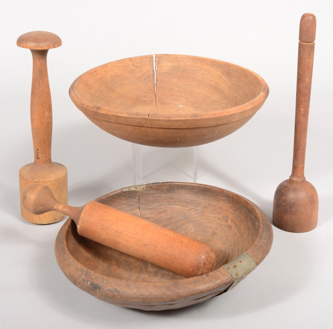4: Primitive Wooden Kitchenware. Two carved wood bowls,