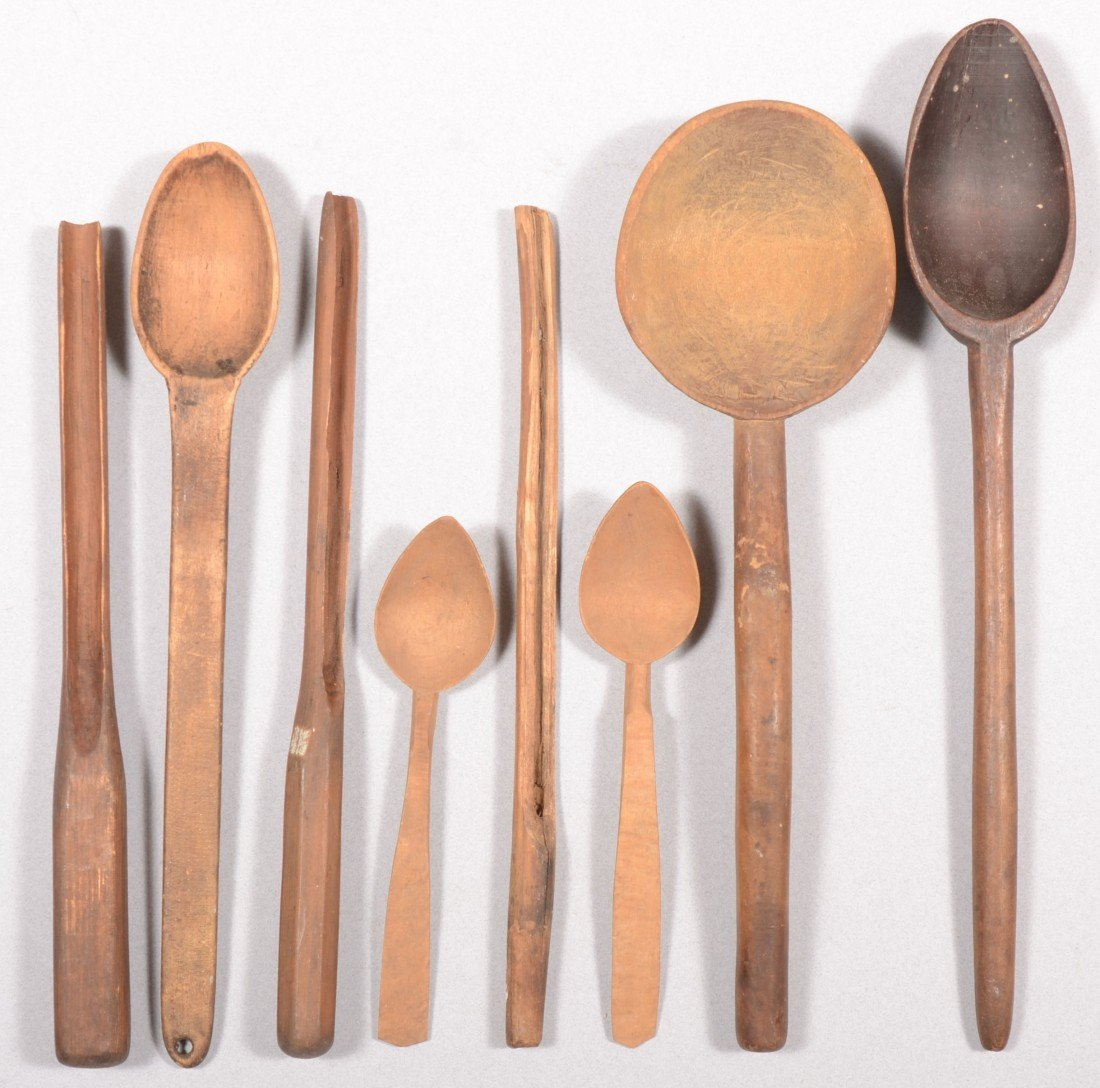 10: Group of Five Carved Wooden Spoons and Two Carved C