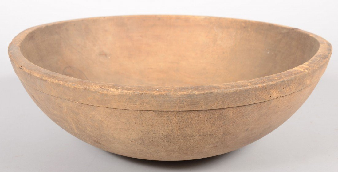 "11: Large Carved Wooden Mixing Bowl. 7""h. X 20""dia. Con"