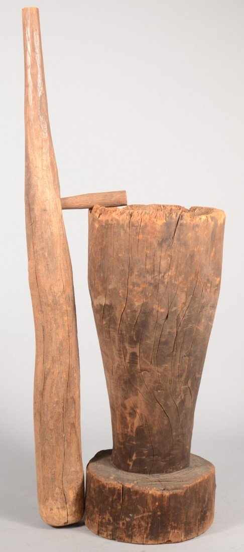 12: Single Log Carved 'Stump' Mortar with Wooden Pestle