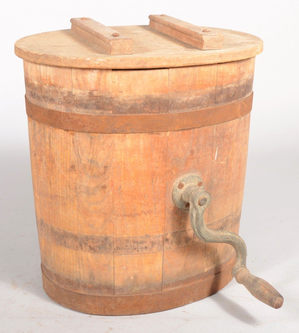 15: Oval Staved Wood and Banded Butter Churn. Carved ag