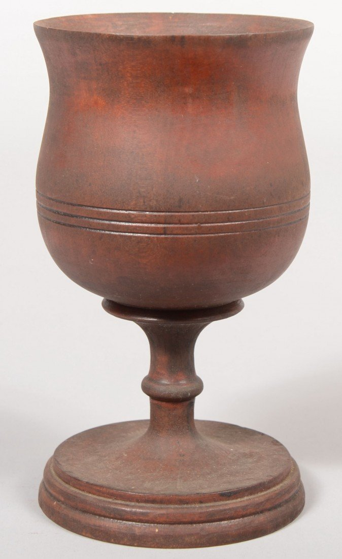 19: Turned Wooden Chalice. Wood appears to be cherry. B