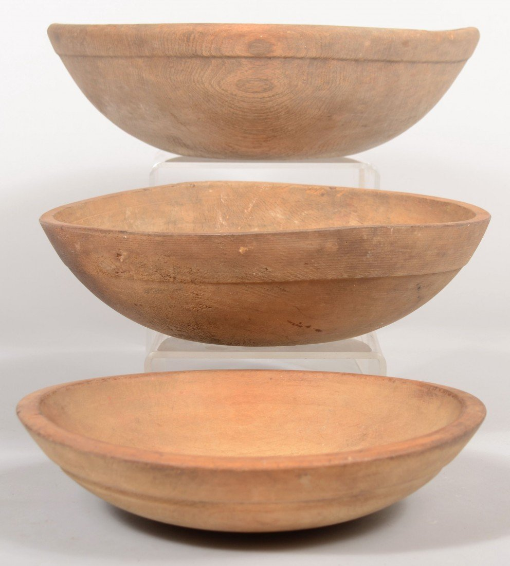 28: Three Turned Wooden Mixing Bowls. All with rim shou