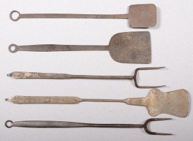 Five Wrought Iron Utensils. Two Plain Spatulas Wit