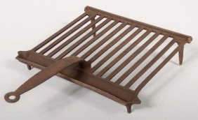 Cast Iron Grid Iron. Channeled Grill With Attached