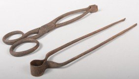 Two Wrought Iron Ember Tongs. Tweezer Type, 10 3/4