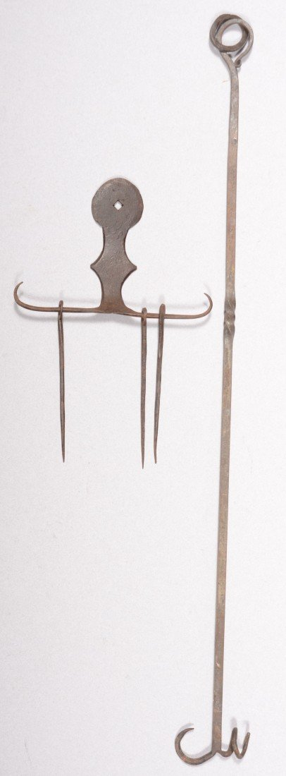 126: Two Wrought Iron Hearth Tools. A 'horned' skewer h