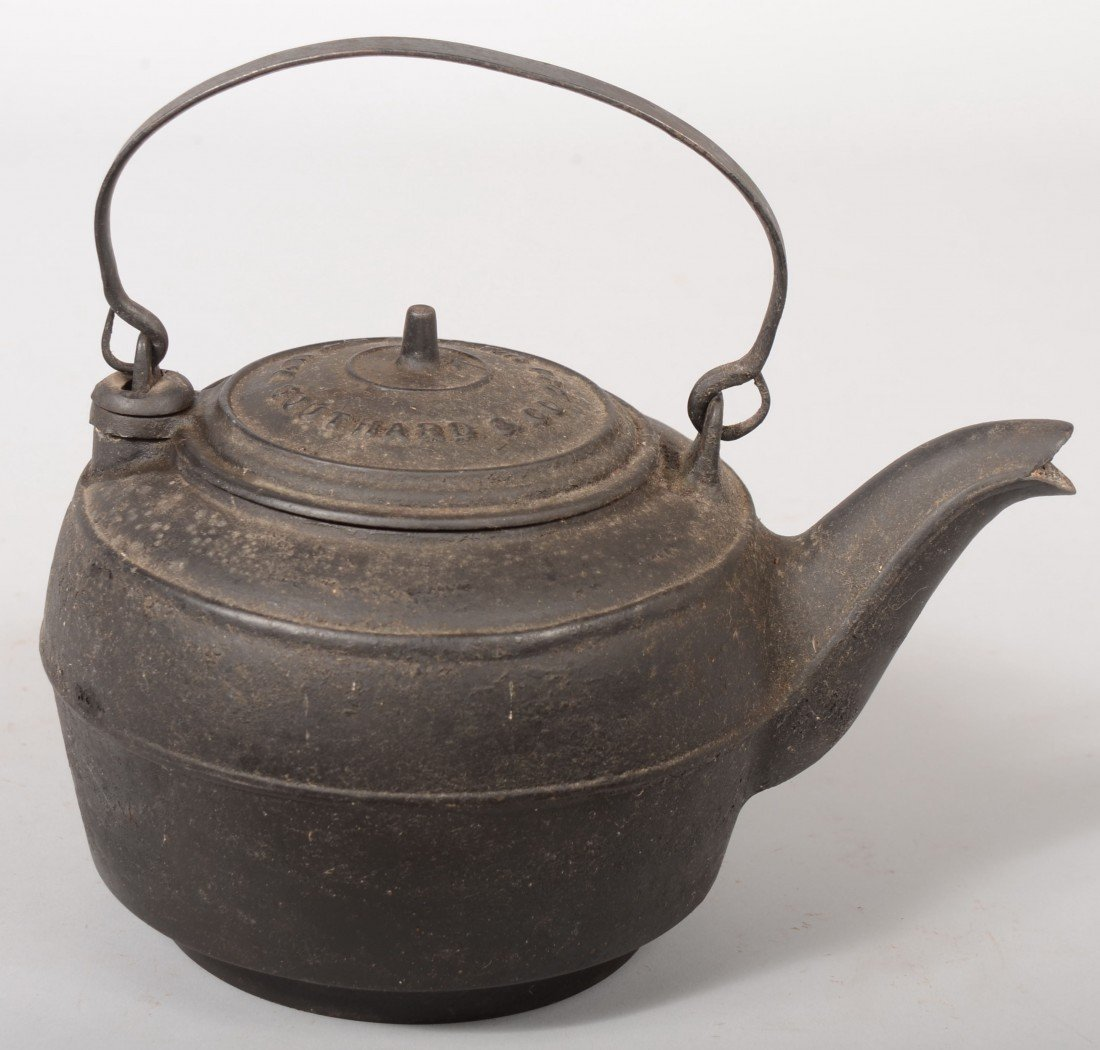 134: Cast Iron Hot Water Kettle. Marked on hinged lid: