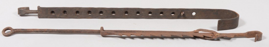 135: Two Wrought Iron Trammels. A two piece bar stock t