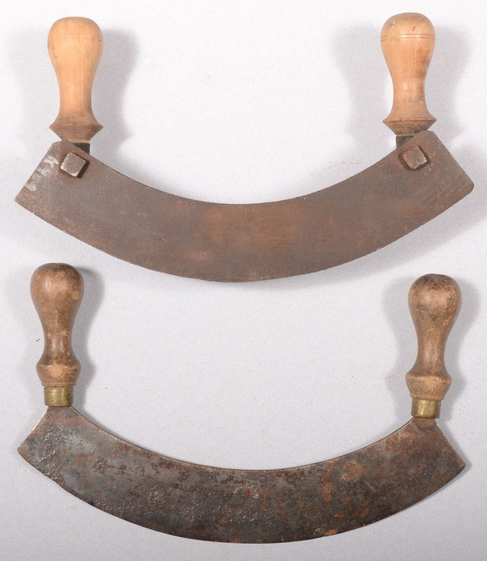137: Two Steel Rocker Knives. A single blade with doubl