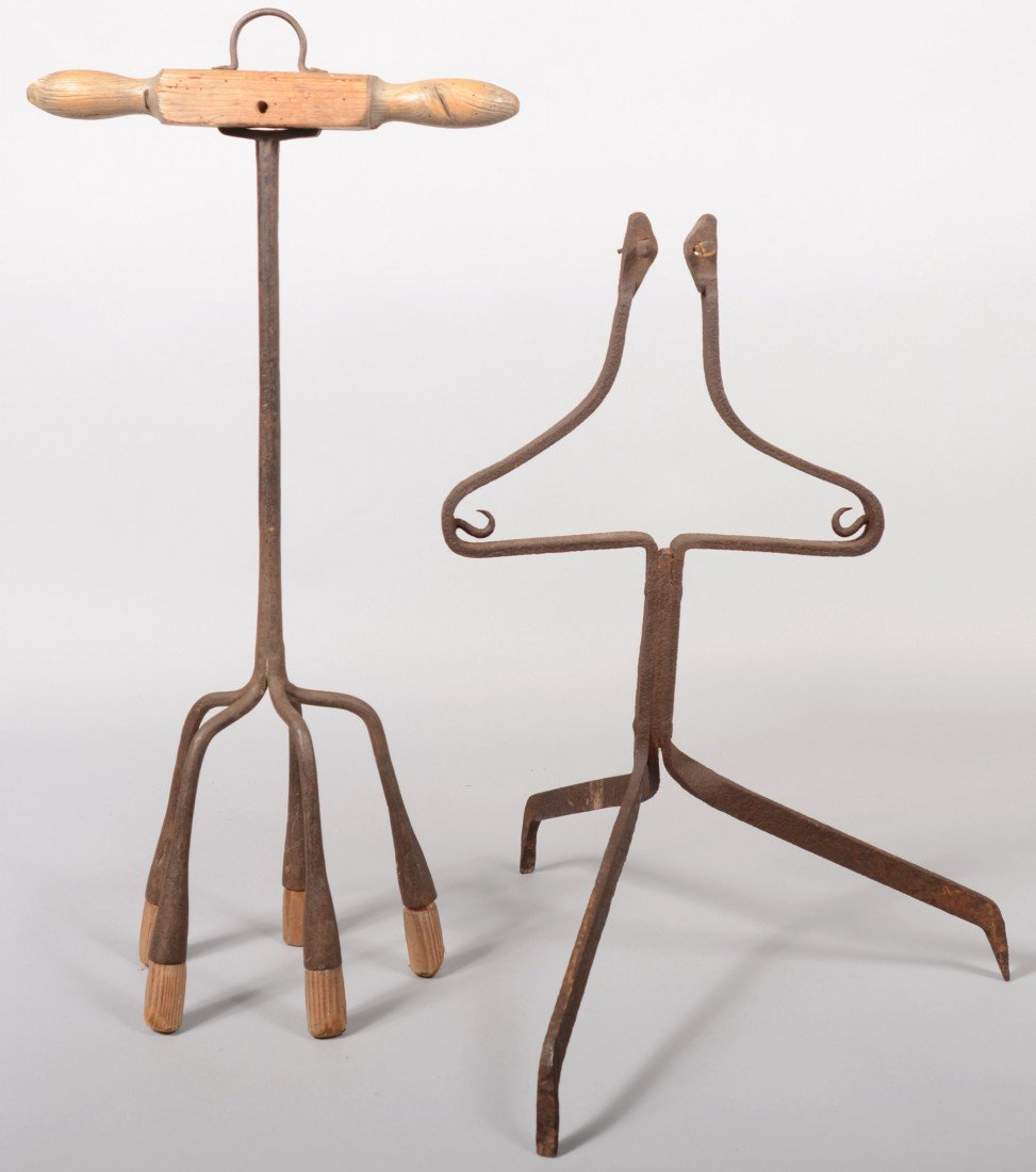 143: Free Standing Wrought Iron Hearth Tripod. Unknown