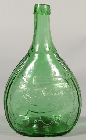 Medium Green Calabash Bottle With American Eagle A