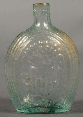 Aquamarine Eagle/Flag Historical Pint Flask. Ameri