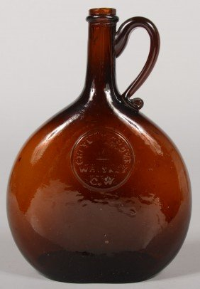 "Medium Amber Handled Chestnut Flask, ""CHESNUT GROV"