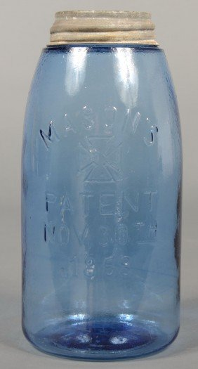 "Blue Glass Mason Fruit Jar With ""H.F.C.Co."" In Cro"