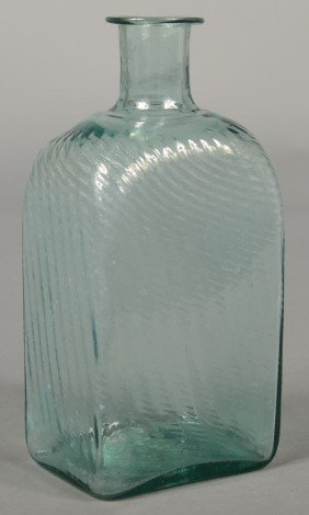 Aquamarine Glass Pitkin Type Case Bottle, Vertical