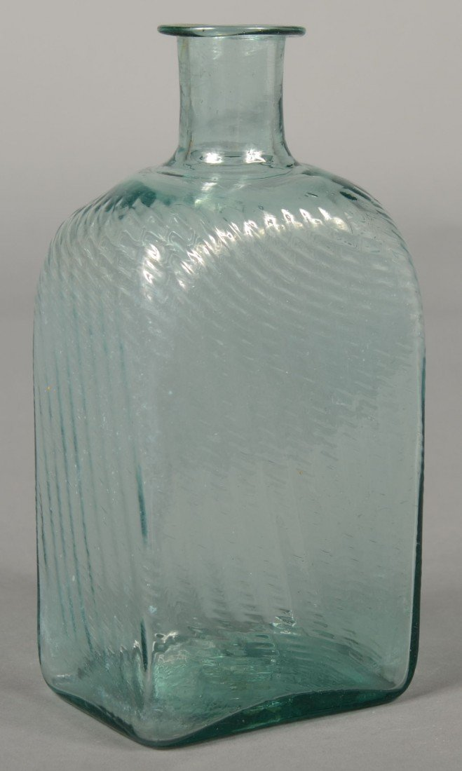 196: Aquamarine Glass Pitkin Type Case Bottle, vertical