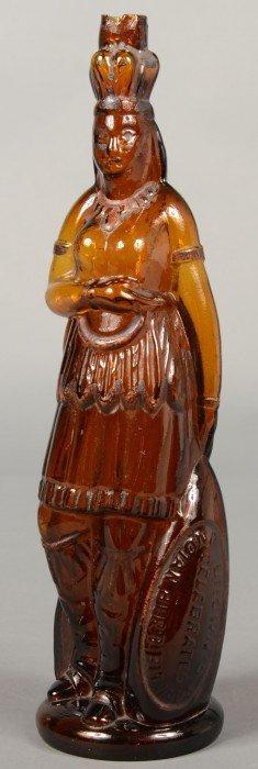 Amber Glass Indian Queen Herb Bitters Figural Bott
