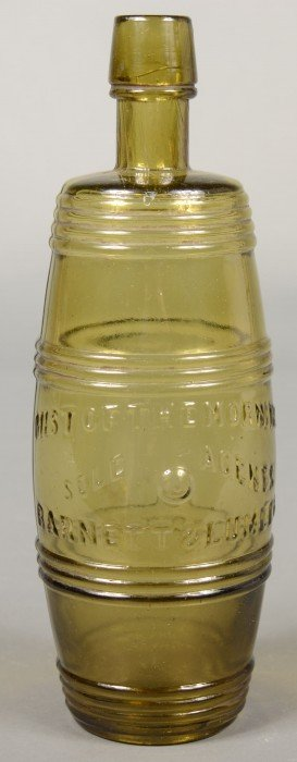 Golden Olive Green Barrel Form Bottle Marked In Ra