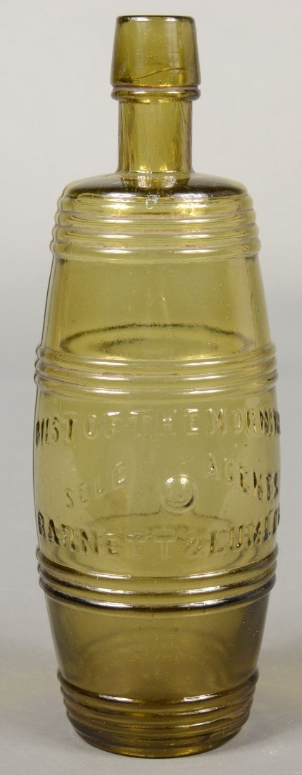 202: Golden Olive Green Barrel Form Bottle marked in ra