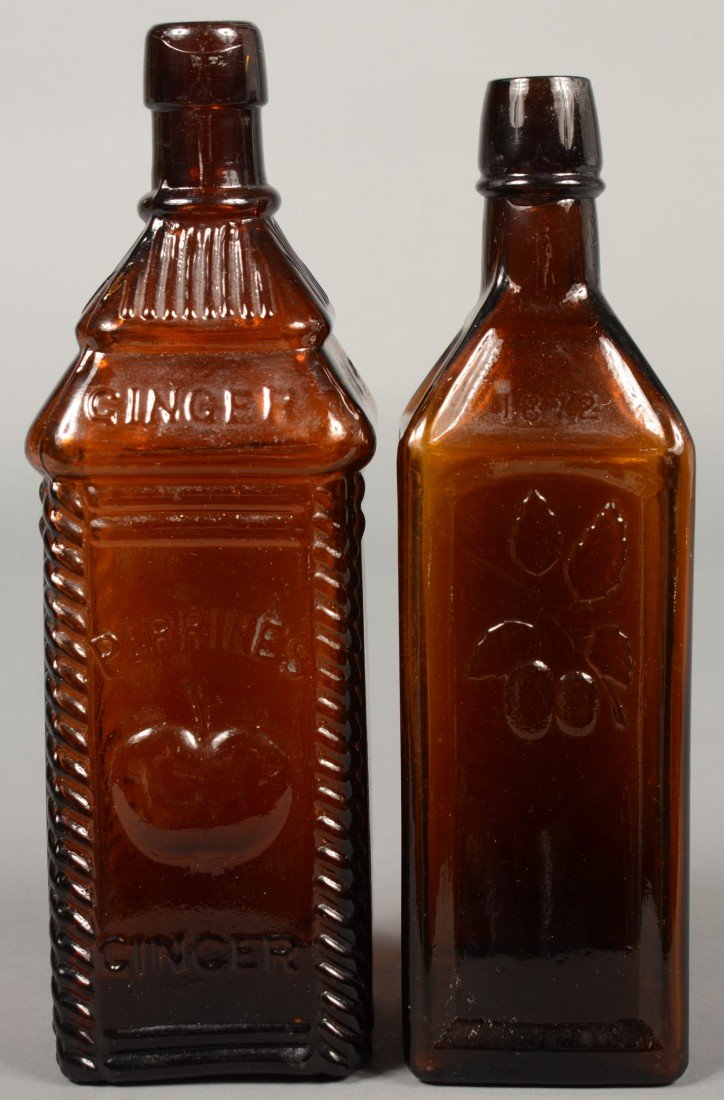 "205: Two Amber Glass Bitters Bottles; 1st is a ""PERRINE"