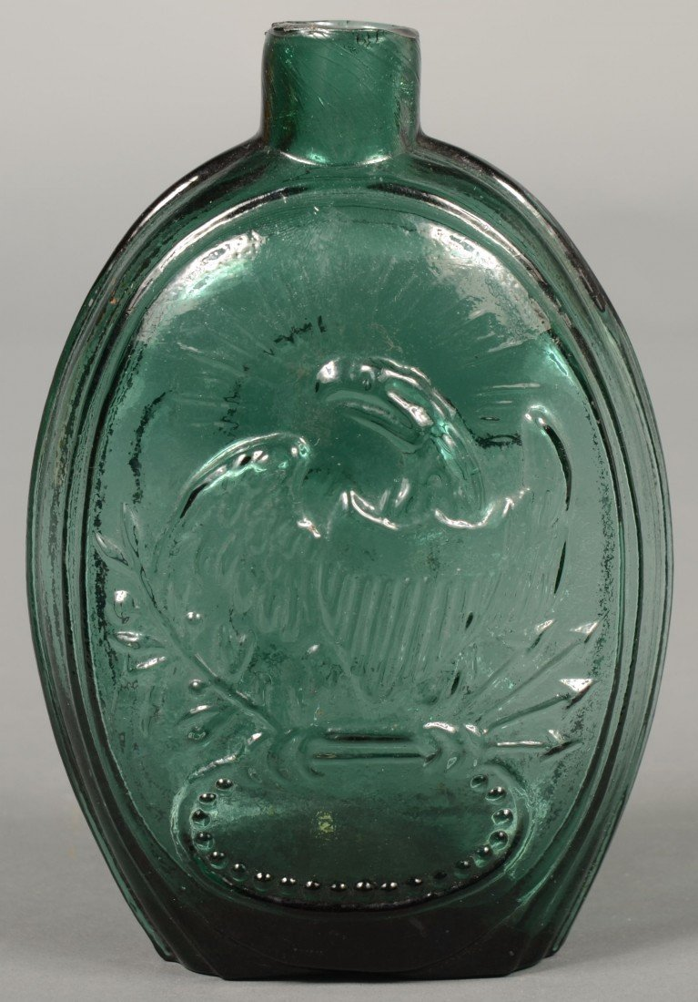 206: Emerald Green Glass American Eagle Pint Flask by K