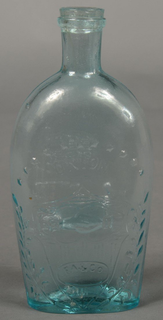 208: Aquamarine  Glass Union/Cannon Half Pint Flask, em