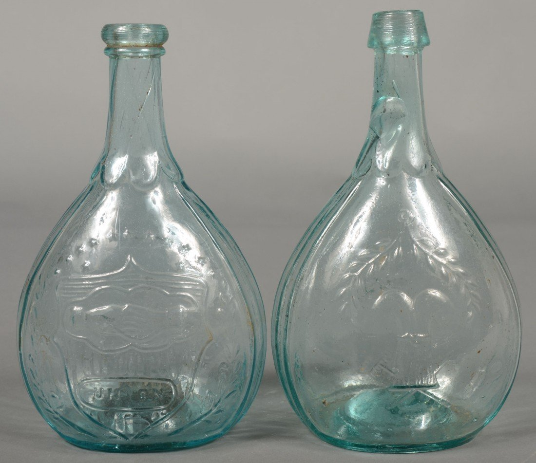 213: Two Aquamarine Quart Size Calabash Bottles. 1st is