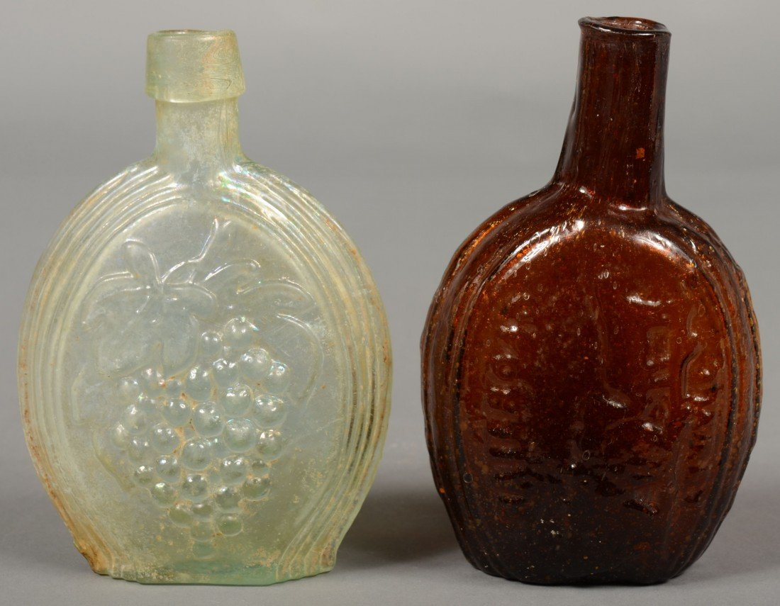 214: Two Pictorial Flasks; 1st is an iridescent aquamar
