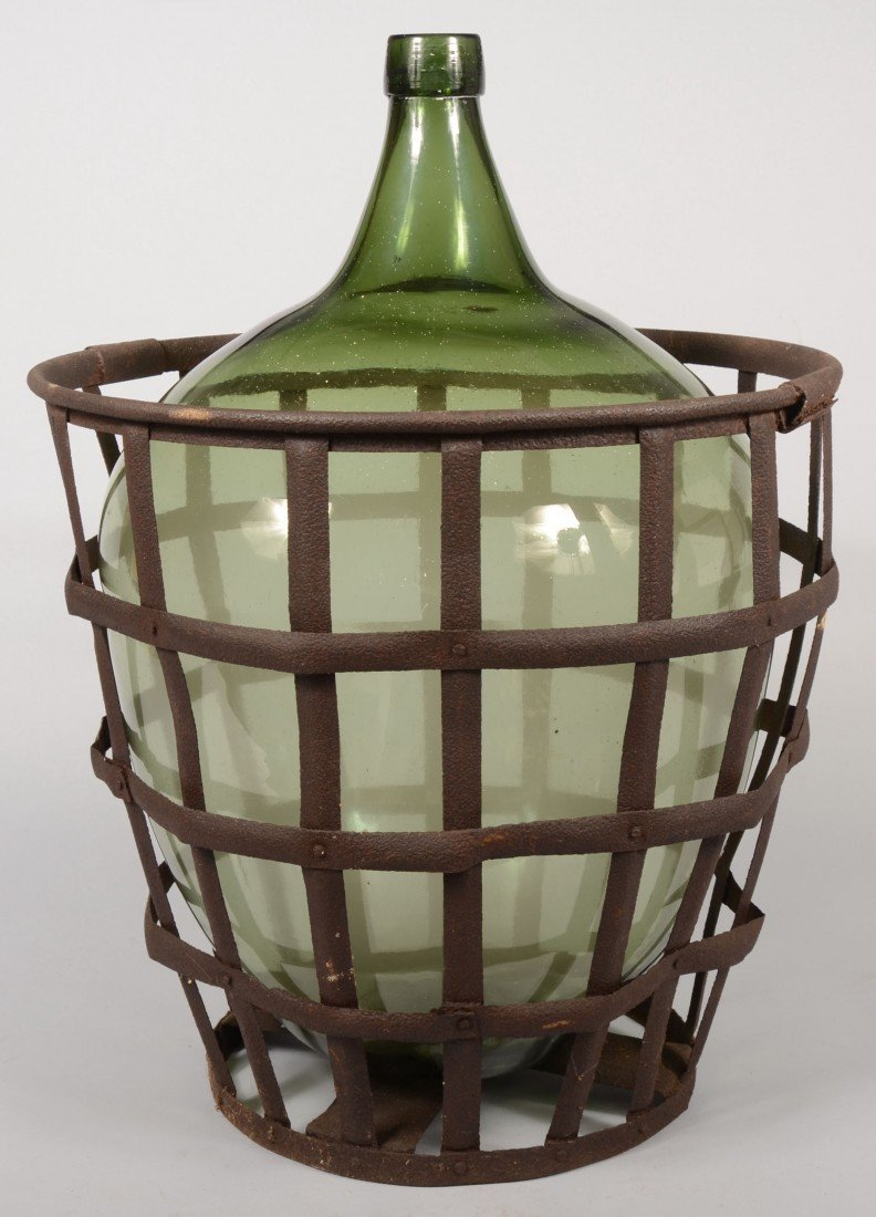 215: Large Olive Green Blown Glass Carboy Bottle with a