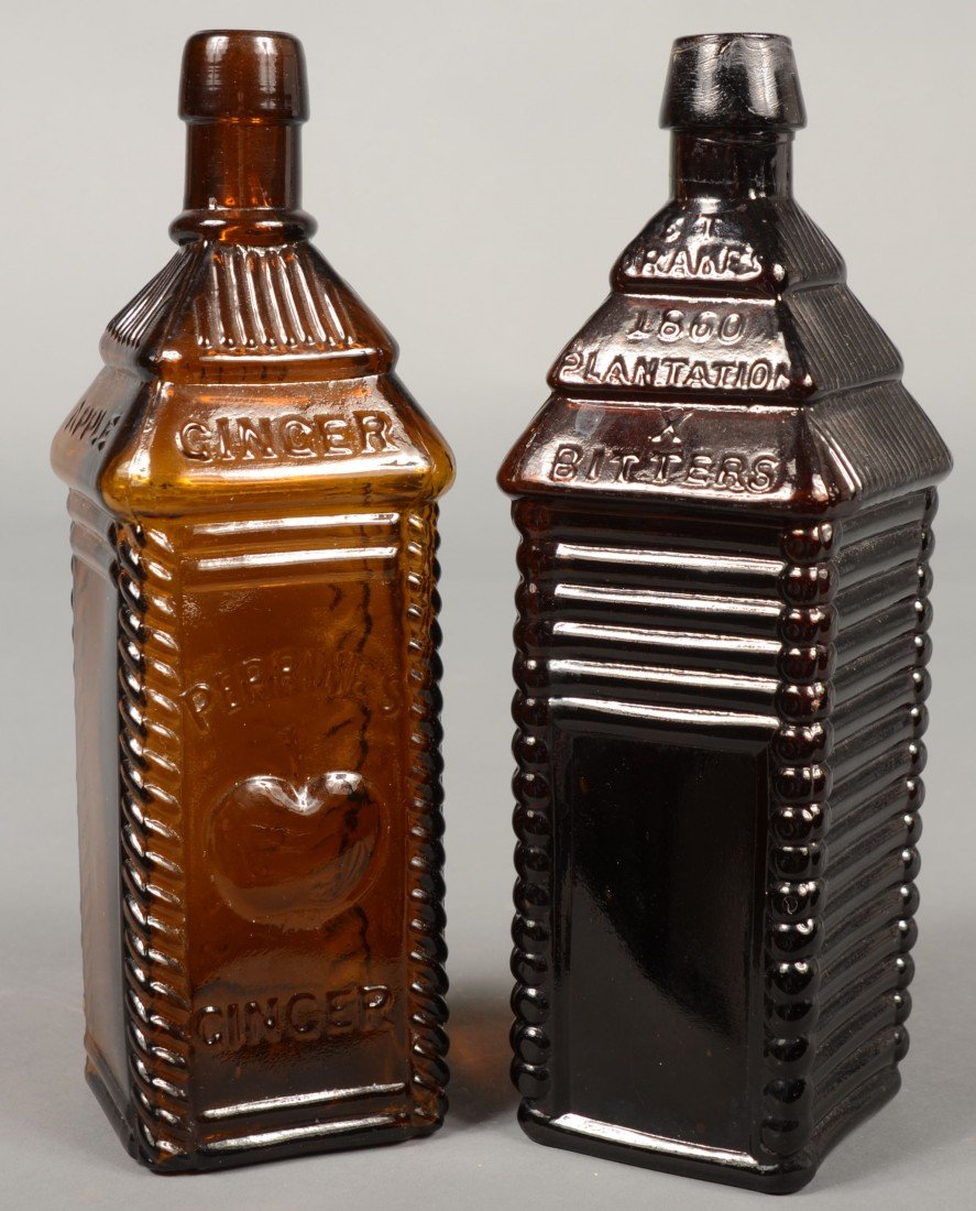 "216: Two Amber Glass Bitters Bottles; 1st is a ""PERRINE"