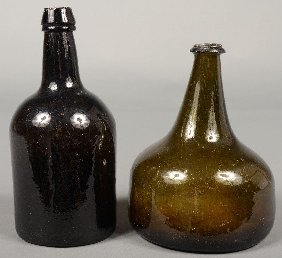 217: Two 18th Century Dark Olive Green Blown Glass Wine