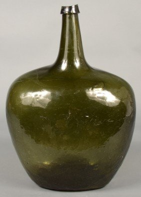 Olive Green Blown Glass Carboy Bottle With Applied
