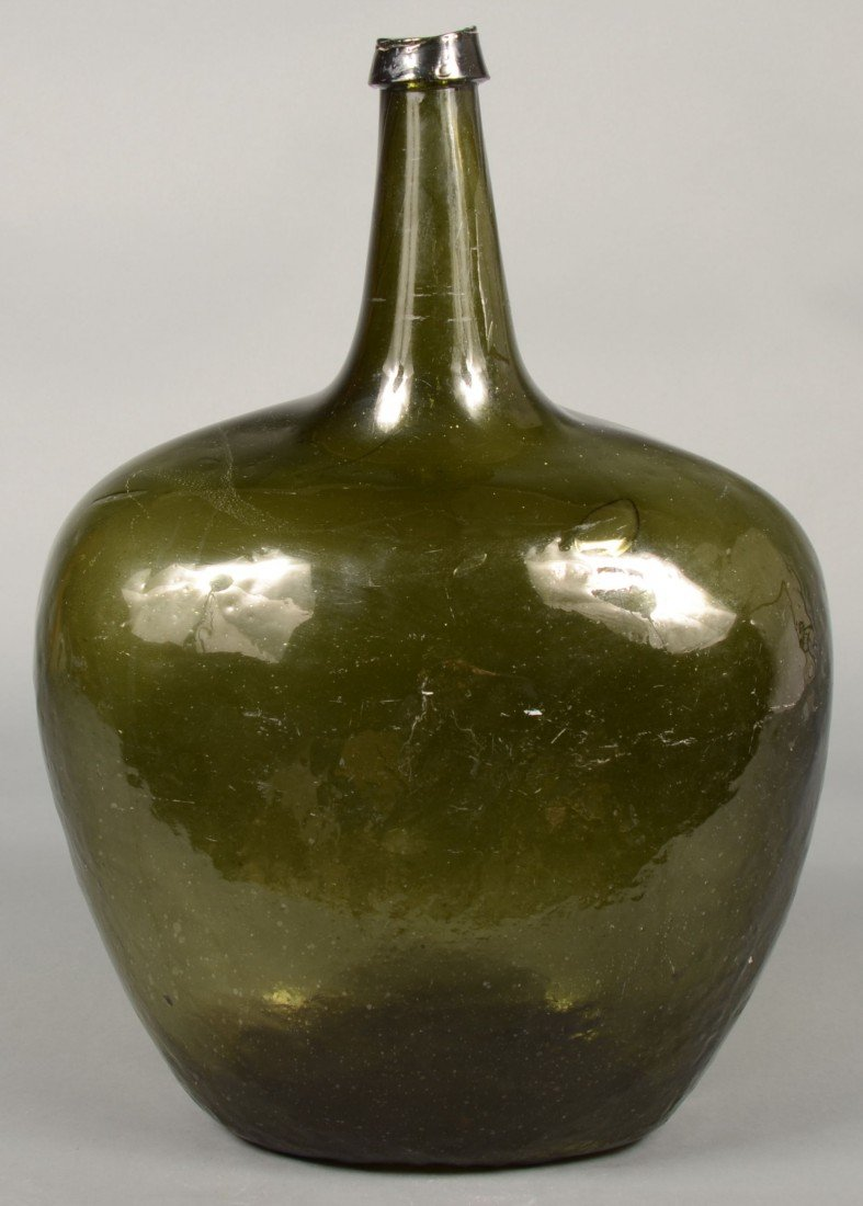 220: Olive Green Blown Glass Carboy Bottle with applied