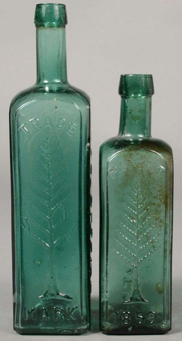 222: Two Emerald Green Glass Wishart's Cordial Patent M