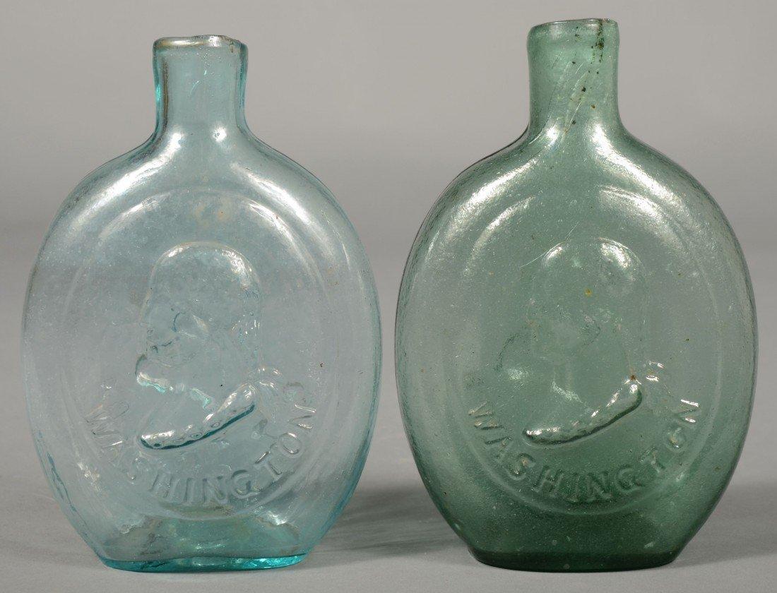 223: Two Blown Glass Washington/ Taylor Pint Size Flask