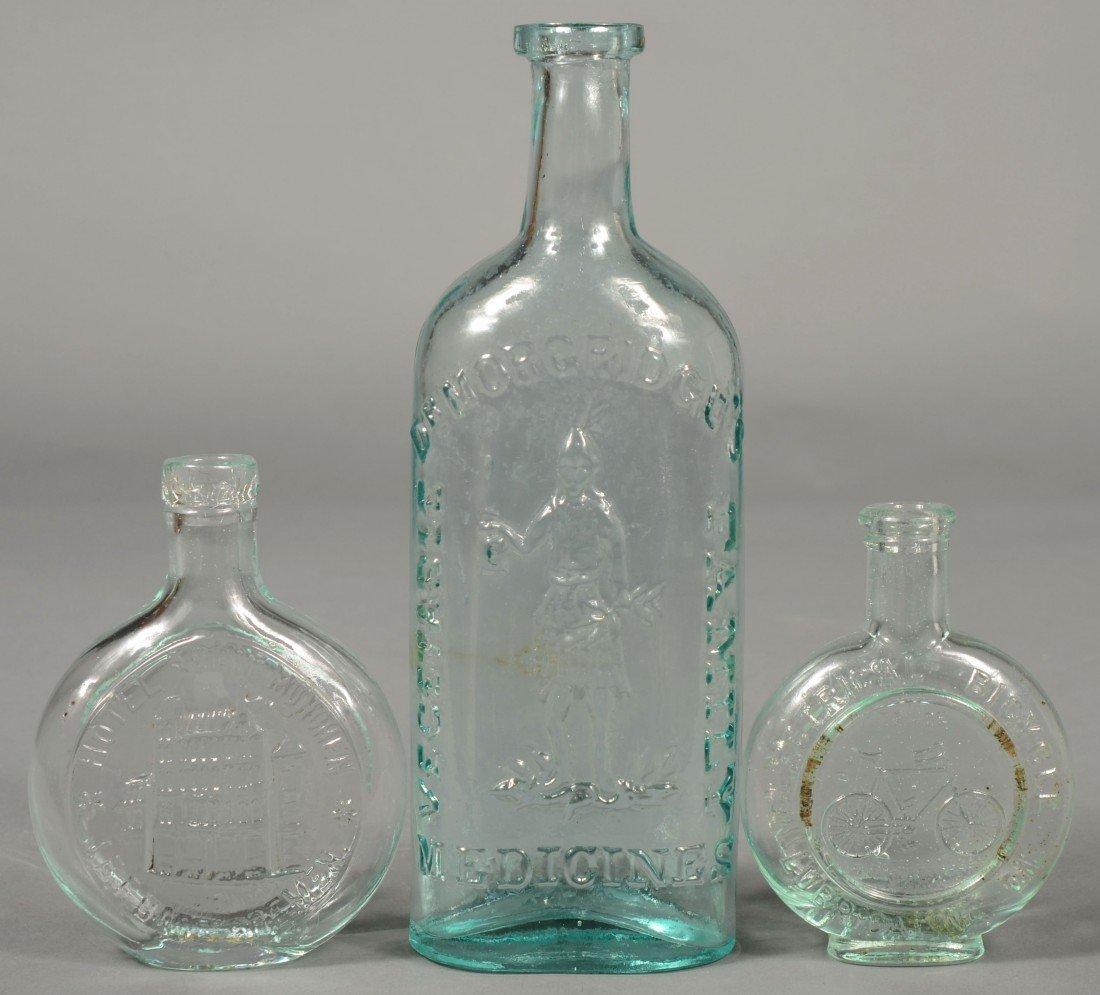 "224: Three Aquamarine Pictorial Bottles; 1st-""Dr. MORGR"