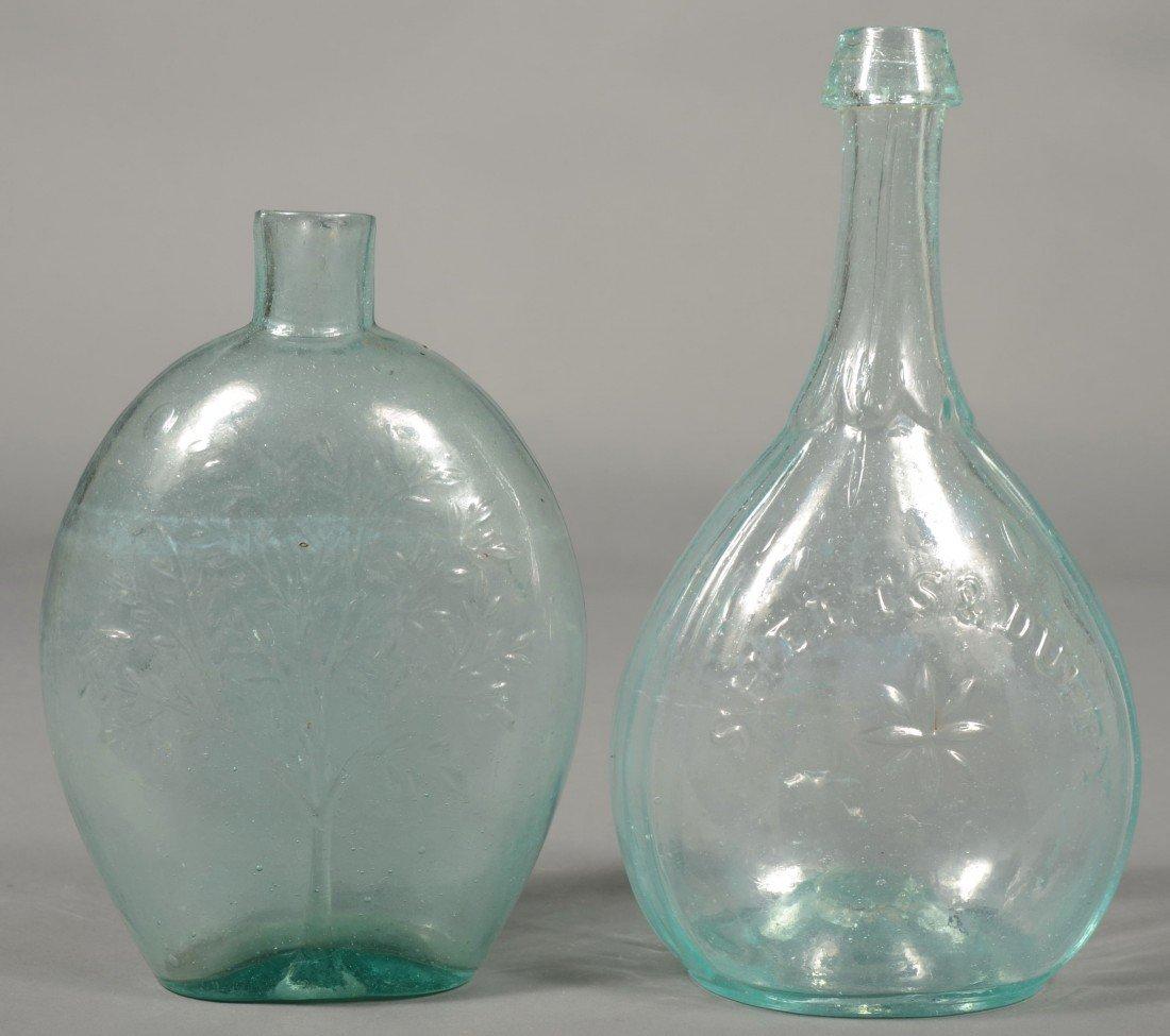 227: Two Aquamarine Blown Glass Quart Bottles; 1st is a