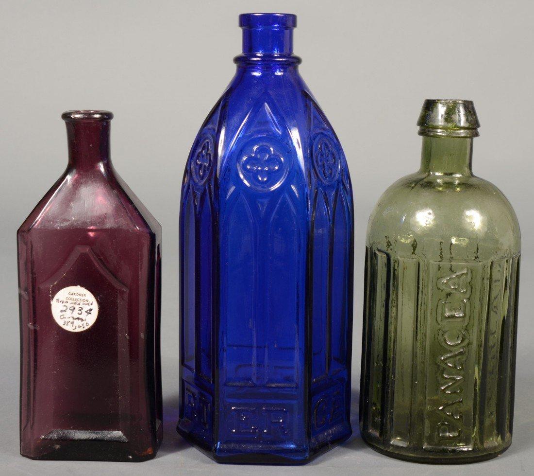 """232: Three Colored Glass Bottles; 1st-cobalt blue """"CART"""