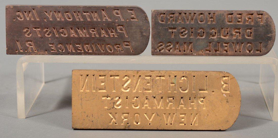 233: Three Cast Metal Pharmaceutical Name Plates for Me