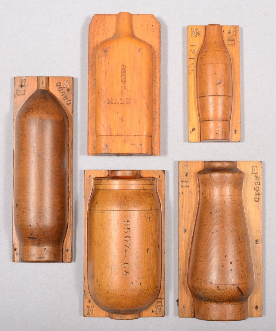 236: Five Wooden Glass molds for Bottles, Flasks and Hu