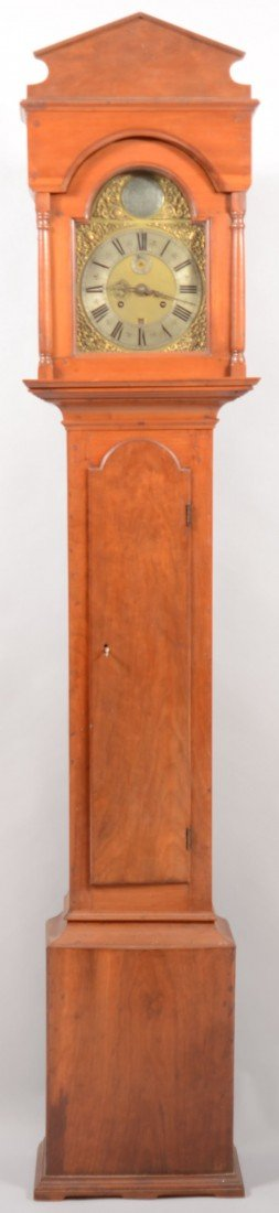 237: William Roach 18th Century Cherry Tall Case Clock.