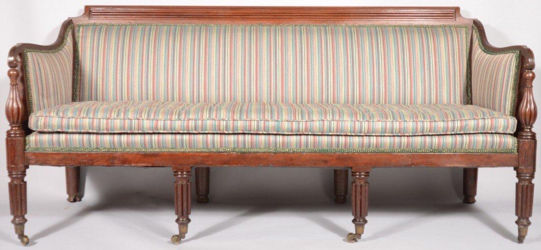 244: American Sheraton Mahogany Turned and Reeded Sofa,
