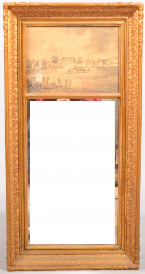 256: Federal Gilt Frame Wall Mirror with embossed leaf