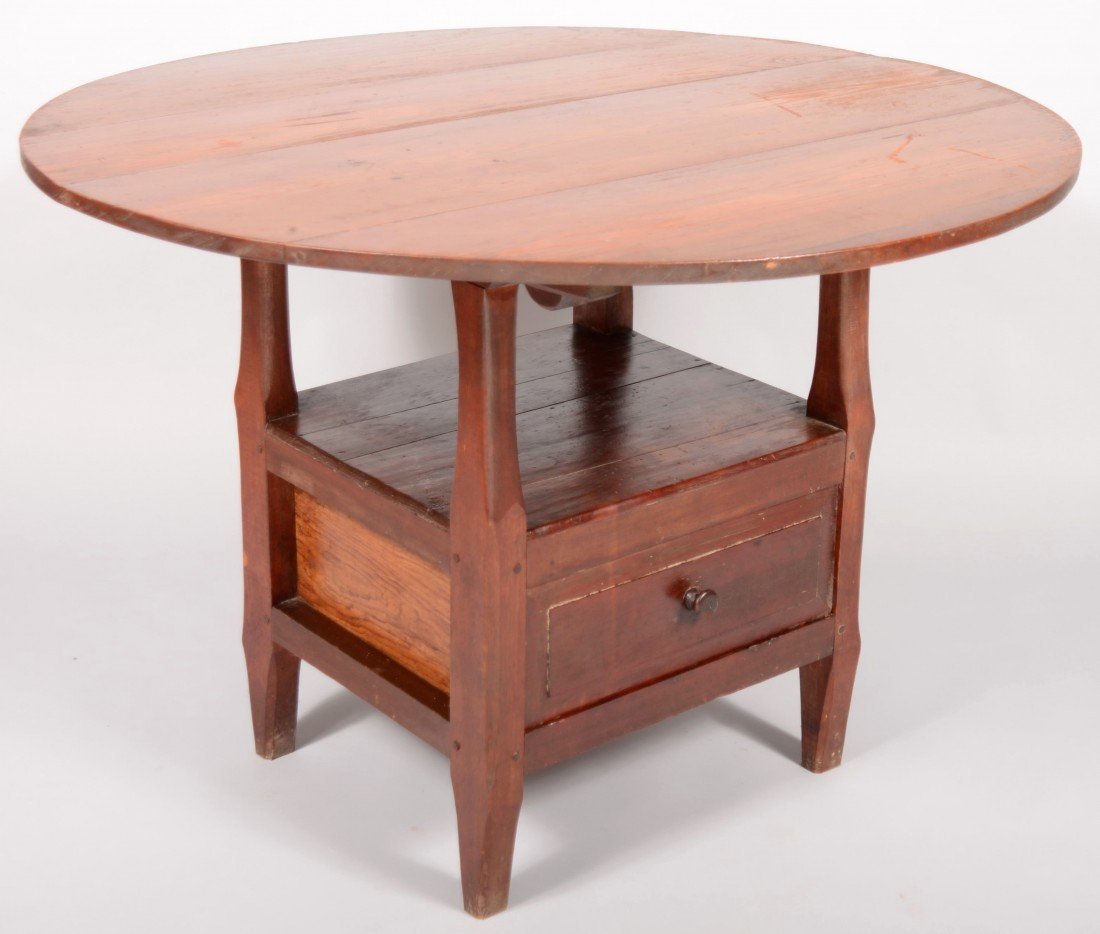 263: American 19th Century Softwood Chair Table. Circul